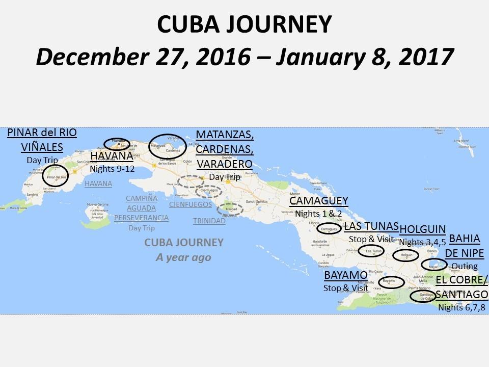 Cuba Journey Itinerary Map